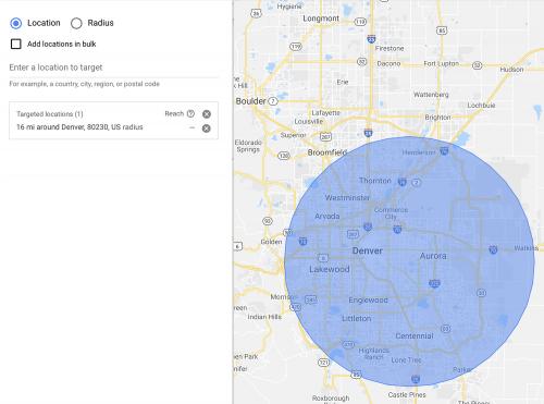Local advertising radius
